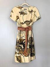 ANTHROPOLOGIE Floreat Sheath Dress Asian Bird Print Obi Belt Fall Colors SZ 4