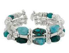 $55 Robert Lee Morris SOHO Turquoise-Resin Bead Silver-Plated Cuff Bracelet  NEW