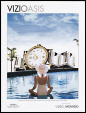 Movado Vizio watch print ad 1998 Woman watching Giant Watch