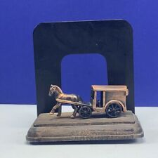Stagecoach bookend copper horse drawn carriage book end figurine vintage mcm vtg