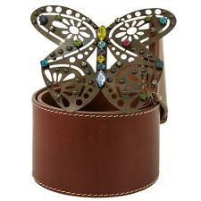 Auth MISSONI Brown Leather Women's Belt with Butterfly jeweled buckle sz 80