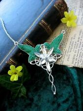 Arwen Evenstar Necklace Lord Rings LOTR Silver Elven Leaf Crystal Pagan Fae