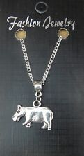 """18"""" or 24"""" Inch Chain Necklace & Hippopotamus Pendant Charm Animal Lovers Hippo"""
