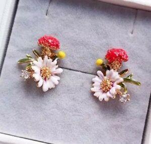 French Enamel glaze Flower Fashion Designer Inspired Crystal White Earrings UK