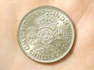 1945 Two Shillings Florin George VI  English 50% silver  #R98