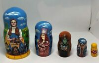 Wizard of Oz Road to Oz 5 piece Russian Nesting Doll Set New! FREE SHIPPING