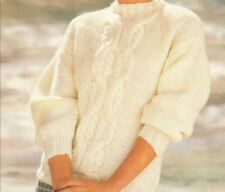 Knitting Pattern Lady's Fab Chunky Cable Sweater  76-102 cm (201)