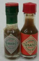 2 Vintage Mini McIlhenny Red & Green Tabasco Sauce Bottles Sealed EUC