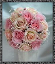 WEDDING POSY BOUQUET  REAL TOUCH ROSES, Pink with gyp and diamante