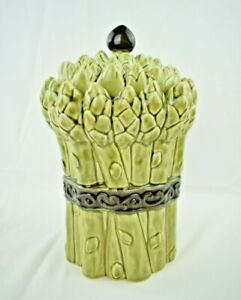 """Asparagus - Ceramic Kitchen Canister - 9.5"""" Tall - Green"""