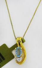 GENUINE 0.58 Cts AQUAMARINE & DIAMONDS PENDANT 10K GOLD ** Free Appraisal*