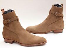 Saint Laurent Jodhpur Boots Brown Sigaro Suede Tan Wyatt YSL Buckle Camel 40 7