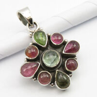 Green, Pink Cab Tourmaline Pendant 925 Sterling Silver Classic Gift Jewelery