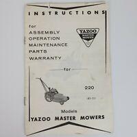 Vintage Yazoo Master Mower Model 220 A3-22 Instruction Manual