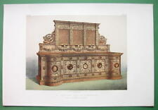 SIDEBOARD Made of Carved Oak English Design - 1862 VICTORIAN Color Print