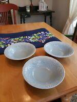"Nikko Optimum Home Plate 7"" Soup/Cereal Bowls WOODBURY Set of 3 in Blue"