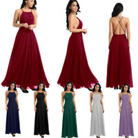 Womens Formal Wedding Bridesmaid Backless Long Evening Party Prom Cocktail Dress