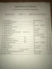 The Rolling Stones Set List, Bigger Bang Setlist At Charlotte Bob cat Arena