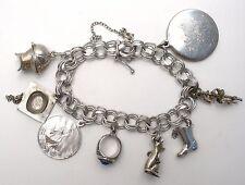 Sterling Silver Charm Bracelet Triple Link Vintage Majorette Mouse Gladiator 925