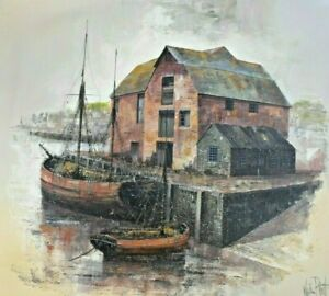 Kevin Platt - Large Original Oil Painting - Harbour with Moored Boats. Cornwall.
