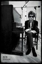 BOB DYLAN Poster - Recording Studio Full Size B&W 24x36 Print - Piano Harmonica