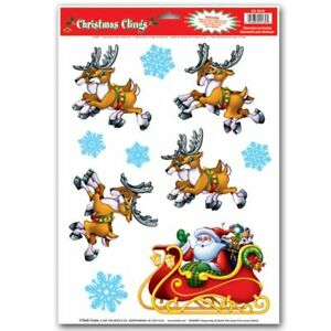 "Santa & Sleigh Window Clings Sheet 12"" x 17"" Christmas Decoration Party Supplies"