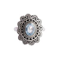 Blue Topaz Gemstone Ring Size 6.5 925 Solid Sterling Silver Handmade Jewelry
