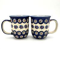 Boleslawiec Wiza Mugs SET OF 2 Handmade in Poland Blue Brown Flower 12 Ounce