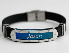 JASON - Mens Silicone & Blue Name Plate Engraved Bracelet - Gifts For Him