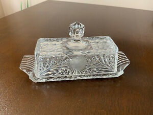 VNTG Covered Glass Butter Dish Classic 2-Piece Design Crystal reactangle