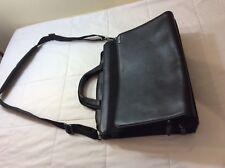 TUMI Black Leather & Nylon Briefcase Messenger Bag With Organizer
