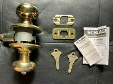 Schlage F51-GEO Georgian Keyed Entry Knobset - Bright Brass