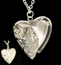 Heart Shaped Locket Pendant Necklace Silver Plated Vintage On Long Chain Gift