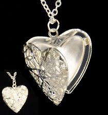 En Forma de Corazón Colgante Collar Plateado Regalo de cadena larga Vintage en