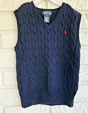 Polo Ralph Lauren Boy's Navy Sweater Vest Size 6 Red Pony Logo