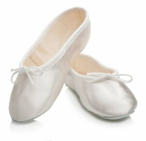 Off White Satin Rubber Full Sole Ballet Shoes Childs & Adults All Sizes By Katz