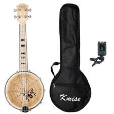 4 String Concert Banjolele Banjo Ukulele 23 Inch Maple for Gift W/Case Tuner