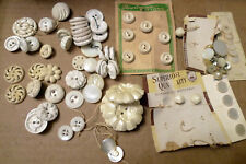 Huge Lot Vintage Mid Century White Lucite Bakelite Mother of Pearl Buttons