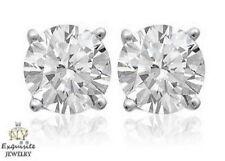 CERTIFIED .70ct H/SI2 ROUND-CUT GENUINE DIAMONDS SET IN 14K GOLD STUDS EARRINGS