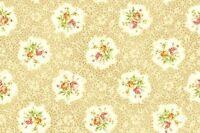 Cottage Shabby Chic Quilt Gate RURU Bouquet Rose Cameos RU2200Y-15A Cream BTY