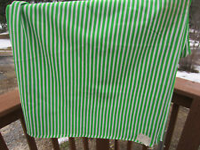 """Vintage Polyester Fabric Sewing Genreal 60"""" Lime Green white Striped 2.25 yds"""