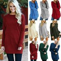 Womens Winter Casual T Shirt Mini Dress Jumper Long Sleeve Tunic Tops Plus Size