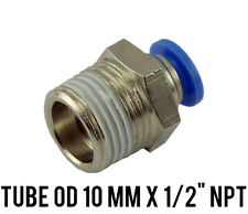 """1 Lot of 10 Male Straight Connector Push In Fitting Tube OD 10 mm x 1/2"""" NPT"""