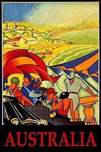 """Australia Beach   Vintage ravel Poster Print For Glass Frame 36"""""""