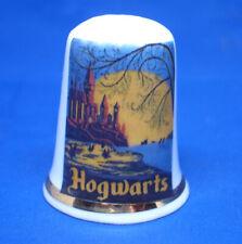 Birchcroft China Thimble - Travel Poster Series - Hogwarts  - Free Dome Box