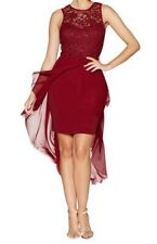 New Ex Quiz Ladies RED Lace Top and drop back Chiffon dress Xmas Party Dress