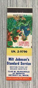 Matchbook Cover-Milt Johnson's Standard Service Detroit Michigan-6236