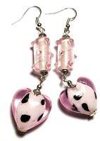 Long Pink Heart Earrings Drop Dangle Hook Glass Bead Boho Artisan Tibetan Style