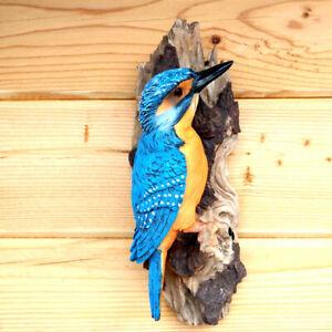 Eisvogel am Stamm Dekofigur Wandhänger Vogel blau Tier Gartenfigur Tierfigur