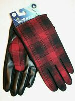 Isotoner Signature Men's Plaid Packable SmarTouch Gloves, Red/Black, L - NEW